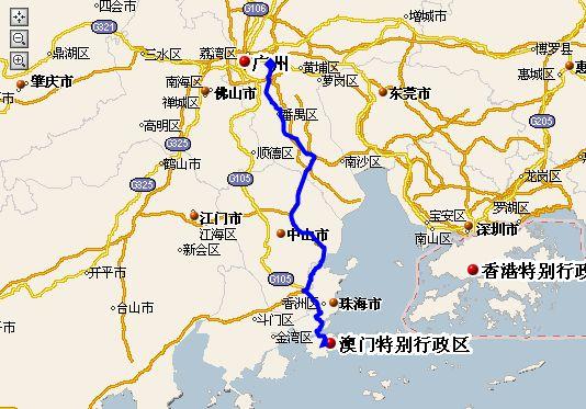 香港到珠海地图